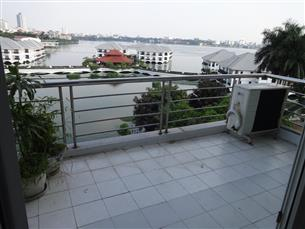 Lake view, big balcony apartment with 01 bedroom for rent in Tu Hoa, Tay Ho